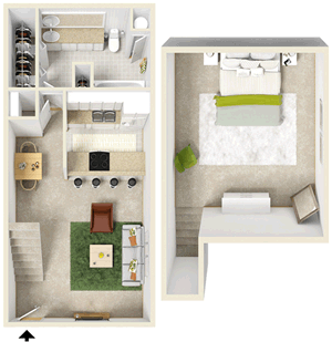 One Bedroom / One Bath - 690 Sq. Ft.*