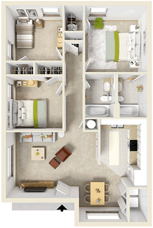 Three Bedroom / Two Bath - 1,015 Sq. Ft.*