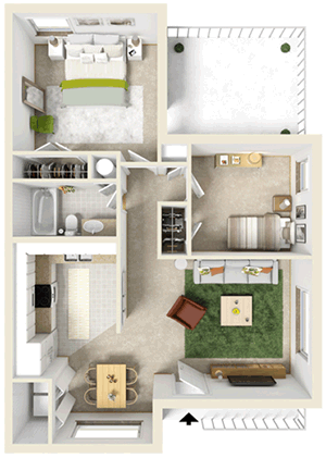 Two Bedroom / One Bath - 850 Sq. Ft.*